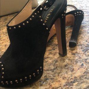 Prada Shoes - prada black studded platform heels